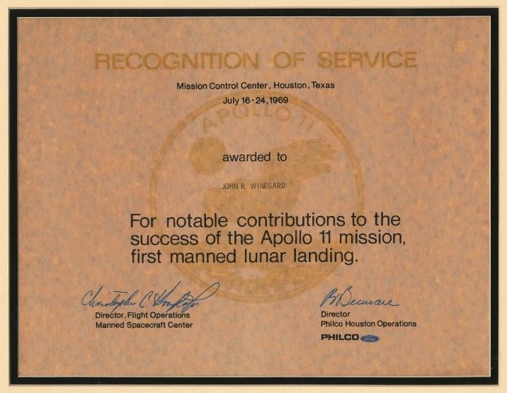 Recognition of Service - Apollo 11